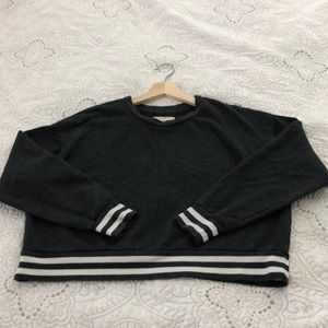 Blue with stripe Crop Sweatshirt